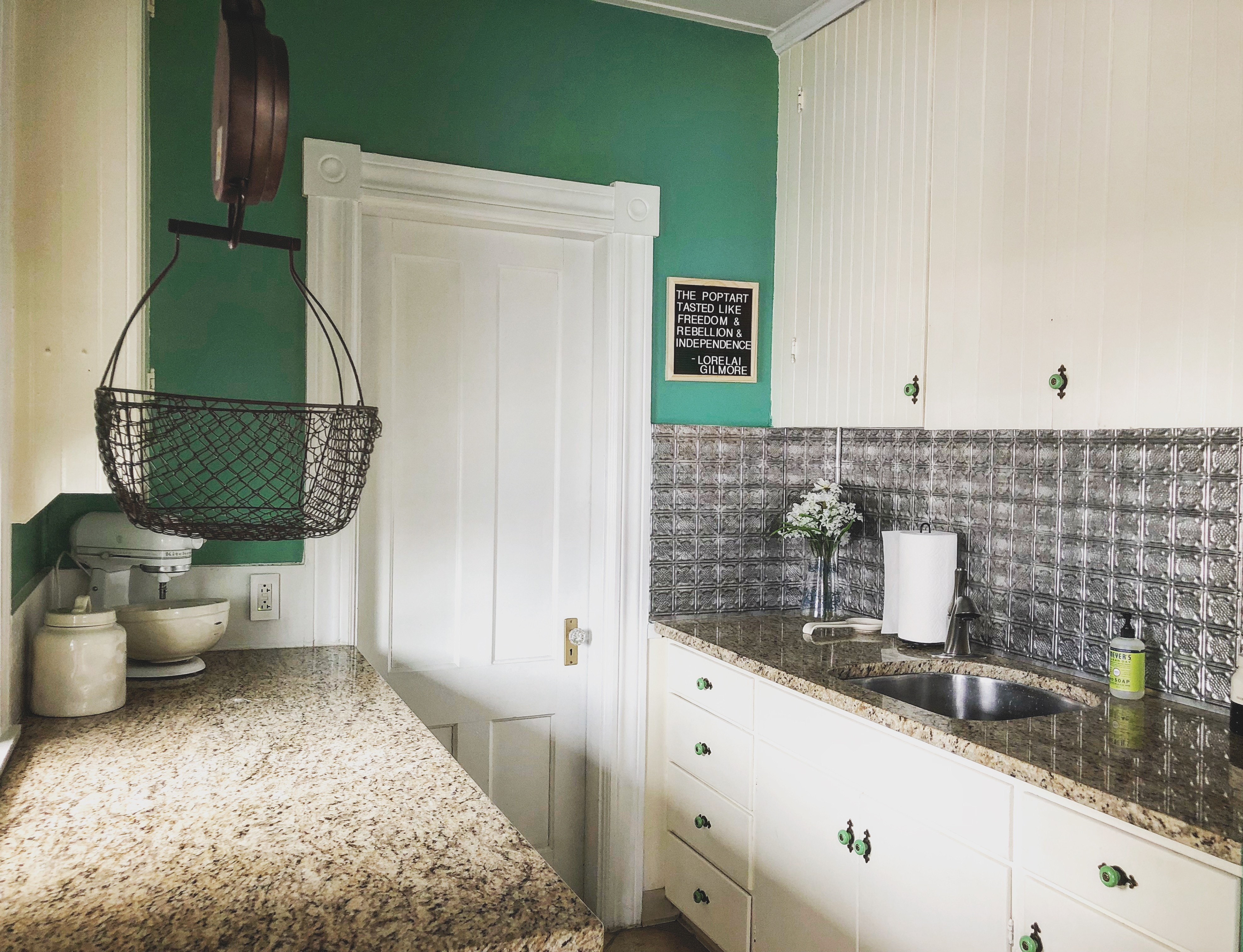 While most butler's pantries are used for storage, this one is used as a baking space.