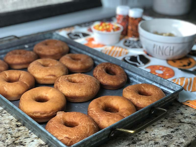 A dozen freshly fried donuts sit on a countertop before being frosted.