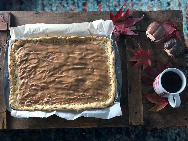 A giant homemade brown sugar cinnamon Pop-Tart is on display after the recipe is completed.