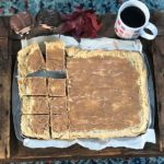 The homemade Pop-Tart slab pie is cut up into individual pieces.