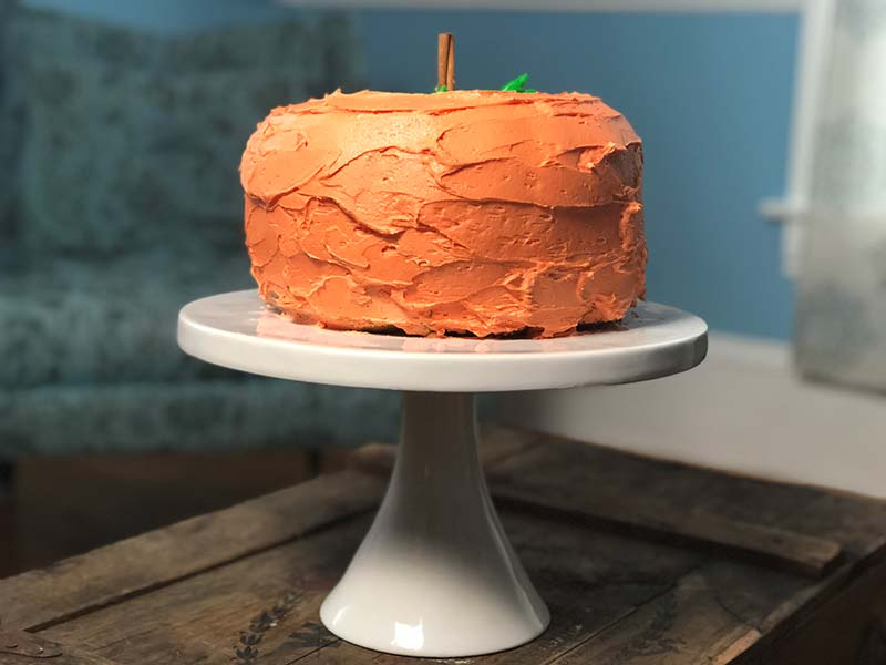 This pumpkin shaped cake was created using bundt pans.
