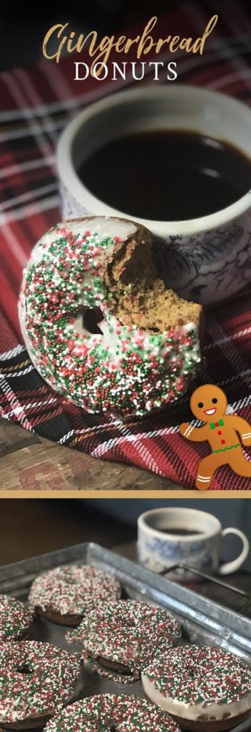 View this delicious and festive breakfast recipe now—baked gingerbread donuts with glaze and holiday sprinkles!