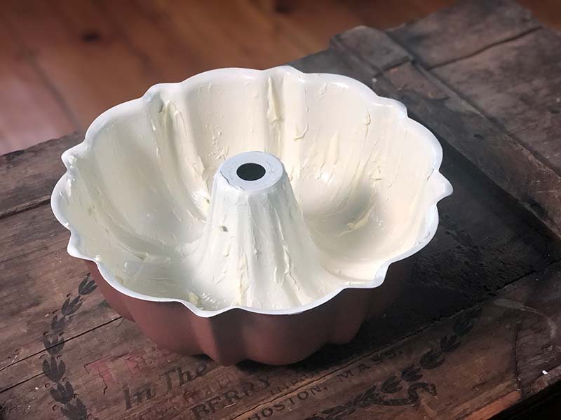 Greasing your bundt pan with butter will ensure that your cake does not stick!