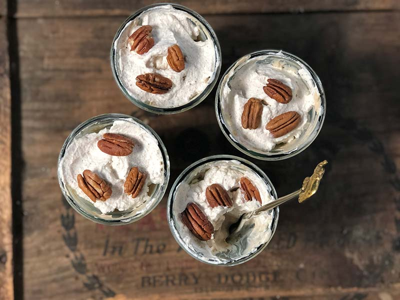 The individual maple pecan cheesecakes in glasses are displayed.