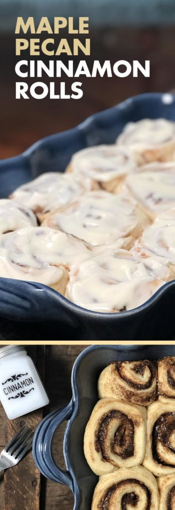 MAPLE PECAN CINNAMON ROLLS WITH CREAM CHEESE FROSTING!